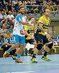 GER - Mannheim, Germany, September 23: During the DKB Handball Bundesliga match between Rhein-Neckar Loewen (yellow) and TVB 1898 Stuttgart (white) on September 23, 2015 at SAP Arena in Mannheim, Germany. Final score 31-20 (19-8) .  Michael Schweikardt #8 of TVB 1898 Stuttgart, Rafael Baena Gonzalez #16 of Rhein-Neckar Loewen<br /> <br /> Foto &copy; PIX-Sportfotos *** Foto ist honorarpflichtig! *** Auf Anfrage in hoeherer Qualitaet/Aufloesung. Belegexemplar erbeten. Veroeffentlichung ausschliesslich fuer journalistisch-publizistische Zwecke. For editorial use only.