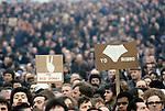 "Factory workers against Union activist Derek ""Red Robbo"" Robinson Union Leader at British Leyland Longbridge car plant Birmingham. 1979 Derek Robinson was sacked, workers voted against a strike to support him."