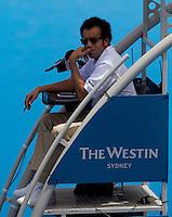 Kader Nouni umpires Svetlana Kuznetsova (RUS) against Jelena Dokic (AUS) in the first round of the women's singles. Svetlana Kuznetsova beat Jelena Dokic 6-2 6-2..International Tennis - Medibank International Tournament - Olympic Park - Sydney - Day 1 - Sun 9th January 2011..© Frey - AMN Images, Level 1, Barry House, 20-22 Worple Road, London, SW19 4DH.Tel - +44 208 947 0100.Email - Mfrey@advantagemedianet.com.Web - www.amnimages.photshelter.com