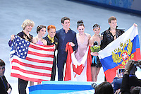 OLYMPICS: SOCHI: Iceberg Skating Palace, 17-02-2014, Figure Skating, Ice Dance Free Dance, podium, Charlie White and Meryl Davis (USA), Scott Moir and Tessa Virtue (CAN), Elena Ilinykh and Nikita Katsalapov (RUS), ©photo Martin de Jong