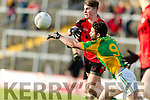 Dara O'Shea Kenmare in action against Cian O'Dea Kilfenora in the Munster Intermediate Club Football Championship Semi-Final at Fitzgerald Stadium on Sunday.
