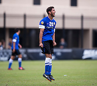 Christian Blandon (20) of Creighton reacts to missing a shot during the game at Shaw Field on the campus of the Georgetown University in Washington, DC.  Georgetown tied Creighton, 0-0, in double overtime.