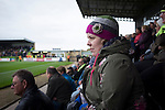 Forest Green Rovers 0 Tranmere Rovers 2, 17/10/2015, New Lawn, National League. A home supporter watching the action in the Main Stand at the New Lawn, home to Forest Green Rovers, during their match against Tranmere Rovers in the National League. The club is based in the village of Nailsworth in Gloucestershire and is owned by businessmen Dale Vince who doesn't allow meat products to be sold to supporters in the ground. The visitors from Merseyside won this game by 2-0 but the hosts remained top of the division. Photo by Colin McPherson.