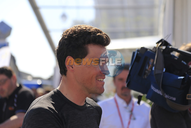 Greg Van Avermaet (BEL) BMC Racing Team at the Team Presentation for the upcoming 115th edition of the Paris-Roubaix 2017 race held in Compiegne, France. 8th April 2017.<br /> Picture: Eoin Clarke   Cyclefile<br /> <br /> <br /> All photos usage must carry mandatory copyright credit (&copy; Cyclefile   Eoin Clarke)