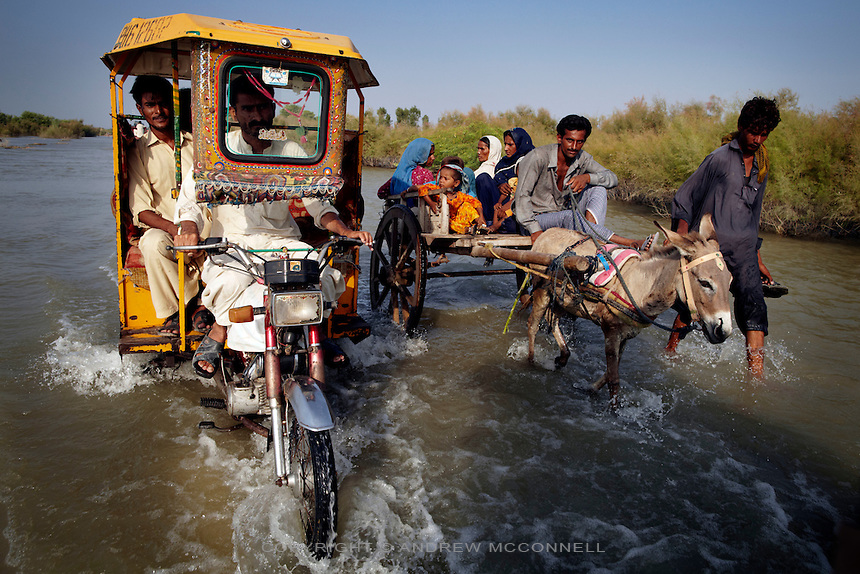A rickshaw travels along a flooded road near Sukker, in Sindh province, Pakistan.
