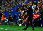 FC Barcelona's head coach Josep Guardiola gives instructions to his players during the Spanish league football match Levante UD vs FC Barcelona on April 14, 2012 at the Ciudad de Valencia Stadium in Valencia. (Photo by Xaume Olleros/Action Plus)
