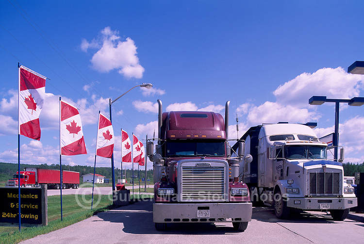 Semi Trailer Trucks at Truck Stop along Trans Canada Highway (Hwy 17), White River, ON, Ontario, Canada