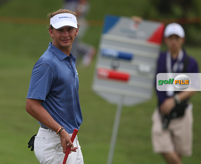 Team Europe's Joost Luiten (NED) hit birdie-birdie twice on the back nine to edge in front of Team Asia's Koumei Oda (JPN) during the final day of Singles matches at the 2014 EurAsia Cup presented by DRB-Hicom, at the Glenmarie Golf & Country Club, Kuala Lumpur, Malaysia. Picture:  David Lloyd / www.golffile.ie