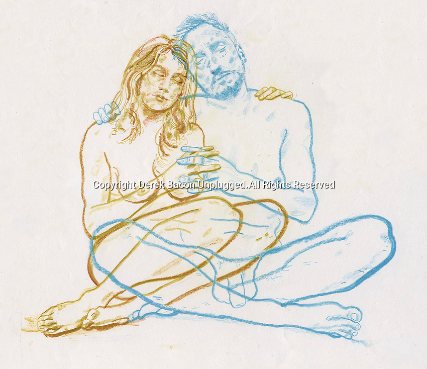 Overlapping drawing of naked couple embracing