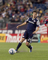 New England Revolution midfielder Marko Perovic (29) passes the ball. In a Major League Soccer (MLS) match, Real Salt Lake defeated the New England Revolution, 2-0, at Gillette Stadium on April 9, 2011.