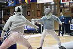 11 February 2017: Duke's Agoston Walter (right) takes on MIT's Tzer Wong (MAS) (left) in Saber. The Duke University Blue Devils hosted the Massachusetts Institute of Technology Engineers at Card Gym in Durham, North Carolina in a 2017 College Men's Fencing match. Duke won the dual match 19-8 overall, 7-2 Foil, 6-3 Epee, and 6-3 Saber.