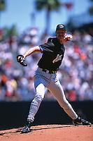 SAN FRANCISCO, CA - Randy Johnson of the Arizona Diamondbacks pitches against the San Francisco Giants during a game at AT&T Park in San Francisco, California in 2002. Photo by Brad Mangin