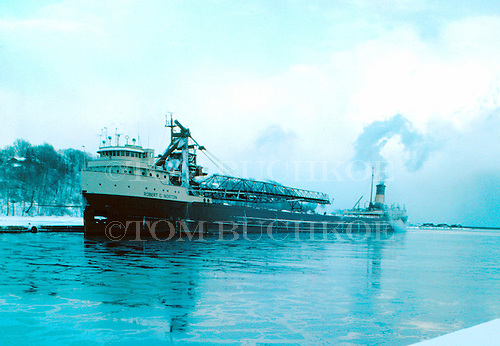M/V Robert C Norton docked at the old coal dock in the lower harbor of Marquette Michigan circa 1970s.