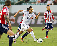 CARSON, CA - July 7, 2012: Vancouver Whitecaps midfielder Davide Chiumiento (20) during the Chivas USA vs Vancouver Whitecaps FC match at the Home Depot Center in Carson, California. Final score Vancouver Whitecaps FC 0, Chivas USA 0.