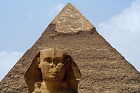 Great Sphinx of Cairo, Egypt &amp; Khafre pyramid. The Pyramid of Khafre is the second-largest of the Ancient Egyptian Pyramids of Giza and the tomb of the fourth-dynasty pharaoh Khafre (Chephren).<br />