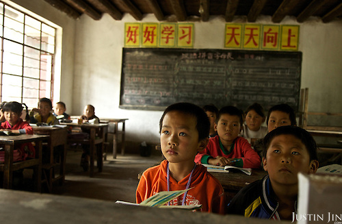 Children study at a school in Yunnan province, southwestern China.