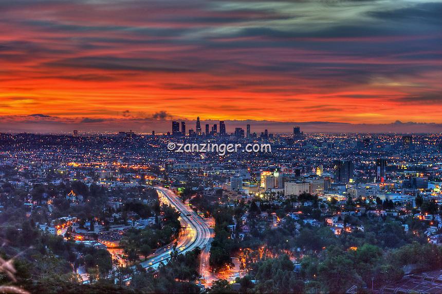Los Angeles, CA, Skyline, Fiery Sunset, Traffic Streaking on Freway, HDR High dynamic range imaging (HDRI or HDR)