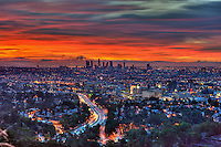 Los Angeles, CA, Skyline, Fiery Sunset, Traffic Streaking on Freway, HDR High dynamic range imaging (HDRI or HDR)