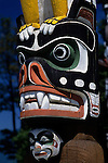 Totem pole park in Stanley Park on a beautiful sunny blue sky day Vancouver British Columbia Canada