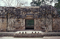 Structure II at the Mayan ruins of Chicanna, Campeche , Mexico. This two-storey temple with its well-preserved serpent-mouth doorway is an example of Rio Bec style Mayan architecture.