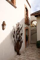 Passageway in the Posada de las Minas, a luxury boutique hotel in Mineral de Pozos, Guanajuato, Mexico
