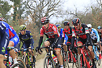 The peloton including Jurgen Roelandts Lotto-Soudal and Greg Van Avermaet (BEL) BMC Racing Team on gravel sector 2 Bagnaia during the 2017 Strade Bianche running 175km from Siena to Siena, Tuscany, Italy 4th March 2017.<br /> Picture: Eoin Clarke | Newsfile<br /> <br /> <br /> All photos usage must carry mandatory copyright credit (&copy; Newsfile | Eoin Clarke)