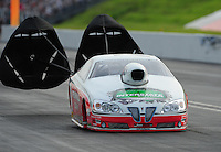 Jun. 19, 2011; Bristol, TN, USA: NHRA pro stock driver Mike Edwards during eliminations at the Thunder Valley Nationals at Bristol Dragway. Mandatory Credit: Mark J. Rebilas-