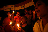 Residents of Mumbai light candles at Nariman Point in solidarity with those killed in the multiple terrorist attacks launched in Mumbai on 26/11/2008..