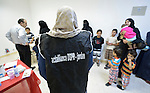 Patients lined up to see a physician in a clinic in Madaba, a sprawling Palestinian refugee camp in Jordan that has grown in recent years with the arrival of refugees from war-torn Syria. The clinic is run by the Department of Service for Palestinian Refugees of the Middle East Council of Churches, a member of the ACT Alliance.