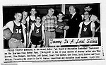 Bethel Park PA: Bethel Recreation Basketball Tournament at Bethel Junior High School on Park Avenue.  This team won the first place trophy for 12 year olds - 1966.  Mike Stewart, Glenn Rodgers, Jon Foley, Jeff Bolsel, Don Troup, Scott Streiner, and Dave Whitmer and Coach Tom Gordon.