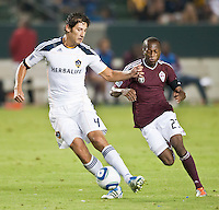 CARSON, CA – September 9, 2011: LA Galaxy defender Omar Gonzalez (4) during the match between LA Galaxy and Colorado Rapids at the Home Depot Center in Carson, California. Final score LA Galaxy 1, Colorado Rapids 0.