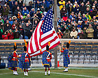 Nov. 23, 2013; The Irish Guard raises the flag in Notre Dame Stadium before the BYU game.<br /> <br /> Photo by Matt Cashore