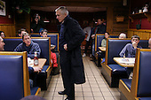 Fort Truck Stop.Lebanon, New Hampshire.January 26, 2004..Democratic presidential hopeful General Wesley Clark campaigns the final day before the primary.