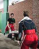 BU players passed the rain delay with some soccer outside the clubhouse. - The University of Maine Black Bears defeated the Boston University Terriers 7-3 (2EN) on Saturday, January 11, 2014, at Fenway Park in Boston, Massachusetts.