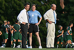 22 August 2008: UNC head coach Anson Dorrance (left) with volunteer assistant coach Cindy Parlow (center) and assistant coach Bill Palladino (right). The University of North Carolina Tar Heels defeated the UNC Charlotte 49'ers 5-1 at Fetzer Field in Chapel Hill, North Carolina in an NCAA Division I Women's college soccer game.
