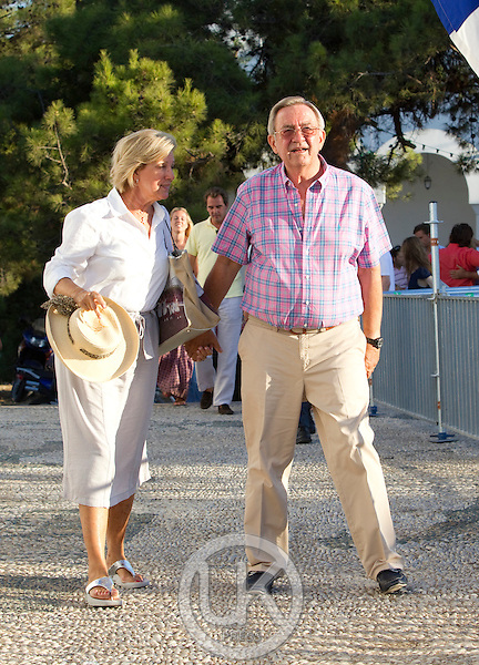 The Greek Royal Family attend a Wedding Rehersal for tehe Wedding of Prince Nikollaos of Greece and Tatianan Blanik at the monastry of Ayios Nikolaos on the Island of Spetses, Greece