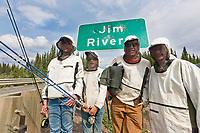 The Hicker Family from Wiseman Alaska fishing at the Jim River.  Heavy mosquitoes require nets.