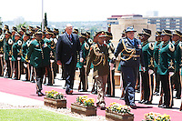 King Harald, and Queen Sonja of Norway, State visit to South Africa..Welcome Ceremony at Union Buildings ( Official Presidential Buildings ) in Pretoria..Received by HE Mr Jacob Zuma, President of The Republic of South Africa, and his wife Mantuli Zuma..