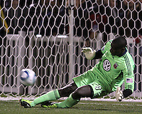 Bill Hamid(28) of D.C. United makes a foot save during the penalty shootout after extra time against the Philadelphia Union during a play-in game for the US Open Cup tournament at Maryland Sportsplex, in Boyds, Maryland on April 6 2011. D.C. United won 3-2 after overtime penalty kicks.