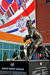 """25 January 2009: A bronze statue of Montreal Canadiens legend Maurice """"the Rocket"""" Richard stands outside the Bell Centre prior to the 2009 NHL All-Star Game in Montreal, Quebec, Canada. The Eastern Conference defeated the Western Conference 12-11 in a shootout. ***** Editorial Sales Only ***** Mandatory Photo Credit: Ed Wolfstein Photographer"""