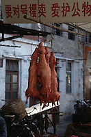 Guangzhou, China --- Skinned dogs hang at the Qingping Market in Guangzhou, China. --- Image by &copy; Owen Franken/CORBIS