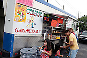 "May 24, 2010. Raleigh, North Carolina.. Don Beto el Poblano sells tacos with more than 10 types of traditional fillings, as well as the popular ""torta"" or mexican grilled sandwich.. The Triangle has seen a recent boom in the number of mobile food trucks selling everything from tacos, to Korean BBQ, to fresh juices."