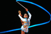 Margarita Mamun of Russia performs with ribbon during event finals at World Cup Montreal on January 30, 2011.  (Photo by Tom Theobald).