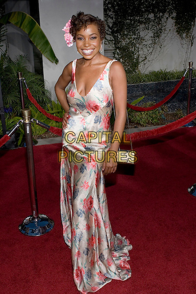 "PAULA JAI PARKER.At the ""Hustle & Flow"" Los Angeles Film Premiere,.held at the Arclight Cinerama Dome, .Hollywood, California, USA, 20th July 2005..full length pink flower in hair accessory clip satin floral patterned print dress .Ref: ADM.www.capitalpictures.com.sales@capitalpictures.com.©Zach Lipp/AdMedia/Capital Pictures."