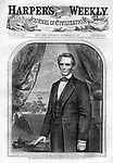 Abe Lincoln after election to his first term in November 1860 on the front page of Harper's Weekly Nov. 10th issue. The illustration is of a clean shaven Lincoln after a photo by Brady before he grew has famous beard.