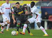 FUSSBALL   1. BUNDESLIGA  SAISON 2011/2012   16. Spieltag FC Augsburg - Borussia Moenchengladbach            10.12.2011 Raul Bobadilla (li, Borussia Moenchengladbach) gegen Gibril Sankoh (FC Augsburg)