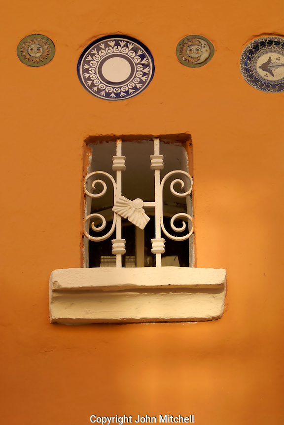 Iron window of a restored house in Old Mazatlan, Sinaloa, Mexico
