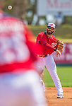 11 March 2013: Washington Nationals second baseman Danny Espinosa in action during a Spring Training game against the Atlanta Braves at Space Coast Stadium in Viera, Florida. The Braves defeated the Nationals 7-2 in Grapefruit League play. Mandatory Credit: Ed Wolfstein Photo *** RAW (NEF) Image File Available ***