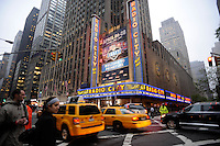 Exterior of Radio City Music Hall during the 2012 NFL Draft at Radio City Music Hall in New York, NY, on April 26, 2012.