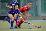 GER - Mannheim, Germany, April 22: During the German Hockey Bundesliga women match between Mannheimer HC (blue) and Club an der Alster (red) on April 22, 2017 at Am Neckarkanal in Mannheim, Germany. Final score 1-1 (HT 1-0).  Hanna Granitzki #18 of Club an der Alster, Nadine Kanler #4 of Mannheimer HC<br /> <br /> Foto &copy; PIX-Sportfotos *** Foto ist honorarpflichtig! *** Auf Anfrage in hoeherer Qualitaet/Aufloesung. Belegexemplar erbeten. Veroeffentlichung ausschliesslich fuer journalistisch-publizistische Zwecke. For editorial use only.
